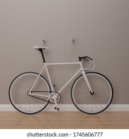White Fixie Bike, 3d render, 3d illustration