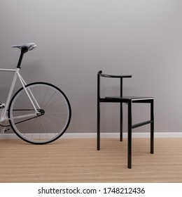White Fixie Bike With Black Minimal Chair 3d render, 3d illustration
