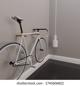 White Fixie Bike hanging on the wall, 3d render, 3d illustration
