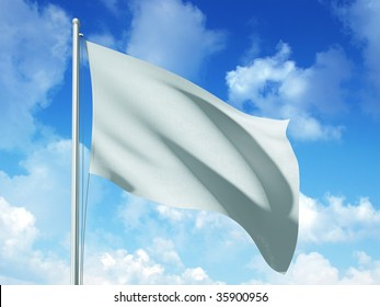 white flag in blue sky background - 3d rendered image