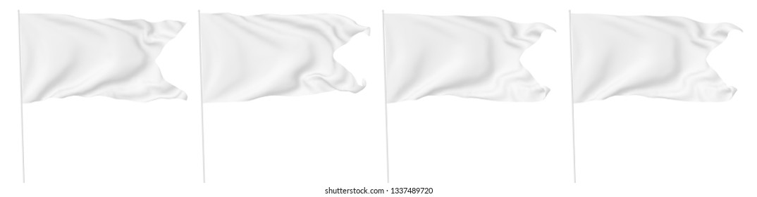 White flag with flagpole with angle flying and waving in the wind isolated on white, white flag set 3D illustration