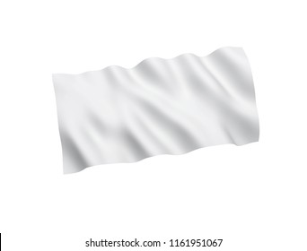 White flag isolated on white background. 3d rendering illustration.