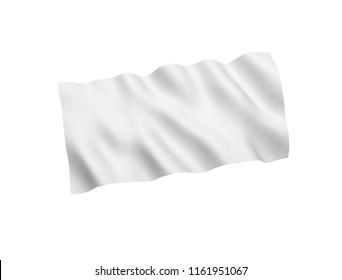 White flag isolated on white background. 3d rendering illustration.