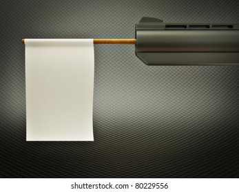white flag sticking out of the barrel of a gun
