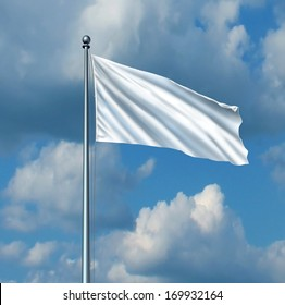 White flag surrender symbol as a metaphor for retreat in business with a blank cloth on a flagpole on a sky as an icon of giving up the fight with copy space for a promotion or advertising message.