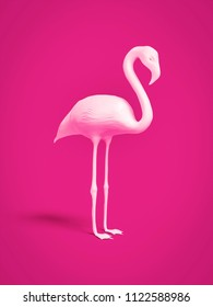 A white flamingo on pink background 3d illustration
