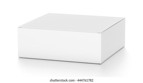 White flat horizontal rectangle blank box from top side far angle. 3D illustration isolated on white background.