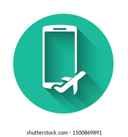 White Flight mode in the mobile phone icon isolated with long shadow. Airplane or aeroplane flight offline mode passenger regulation airline . Green circle button