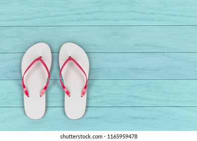 White flip flops on wooden floor, top view. 3D illustration