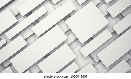 White floating 3D panels with shadow background. 3D rendering.