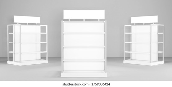 White Floor Display Rack For Supermarket Blank Displays With Shelves Mock Up On White Background Isolated. Ready For Your Design. Product Packing.