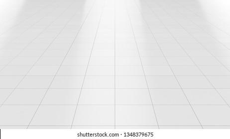 White floor marble clean ceramic tile background 3d render