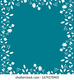 White floral frame on a navy background. Summer flowers
