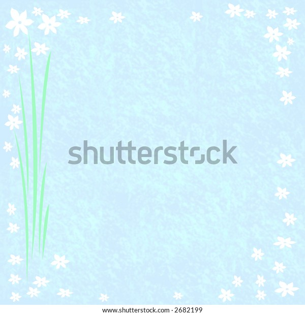 white  flowers border on blue note paper scrapbook