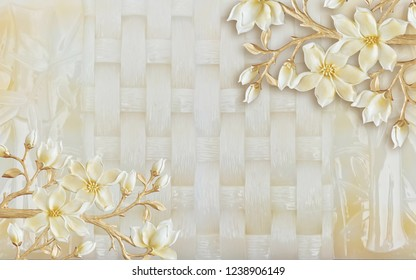 White flowers on decorative checks background 3D wallpaper