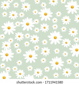 White flowers on green background. Seamless pattern,hand-drawn,cute,card, gift wrap and wallpaper.