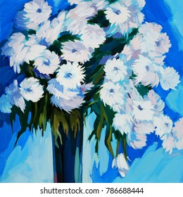white flowers in a vase, oil painting on canvas, illustration