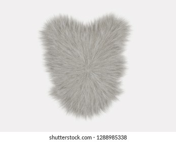 White fluffy carpet on a white background 3d rendering