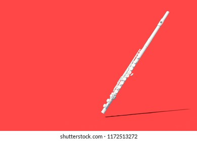 White Flute on Background color 3D Render