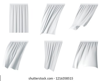 White fluttering curtain set. realistic illustration isolated on white background.