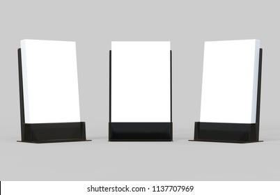 White flyers stack mockup in black glass plastic holder isolated on light grey background, 3d illustration.