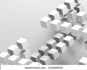 White flying cubes structure over white wall. Abstract cg background, 3d rendering illustration