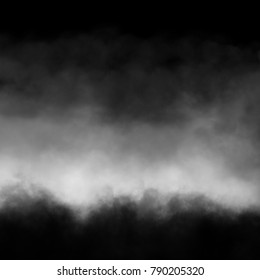 White fog and mist effect on black background.