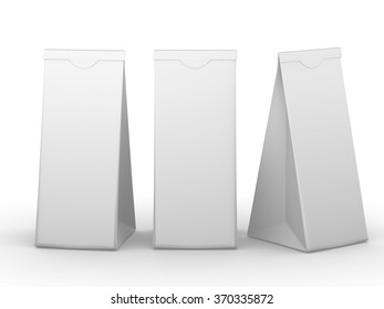 White folded paper bag with clipping path, packaging for food snack or ingredient.