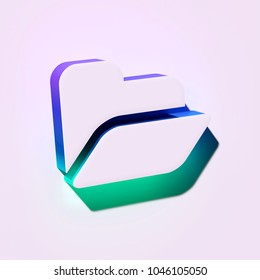 White Folder Open Icon. 3D Illustration of White Access, Data, Directory, File Management Icons With Blue and Green Shadows.