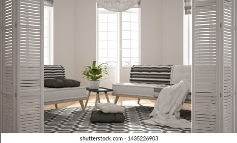 White folding door opening on scandinavian minimalist living room with big windows, sofa, armchair and carpet, white interior design, architect designer concept, blur background, 3d illustration