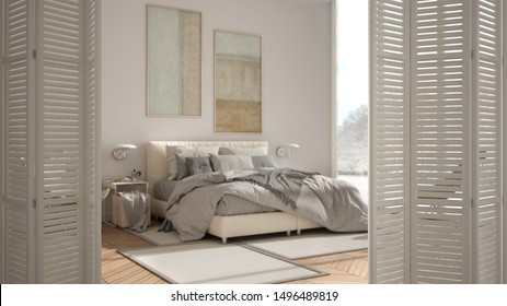 White folding door opening on modern luxury minimalist bedroom with double bed, carpet and big panramic window, interior design, architect designer concept, blur background, 3d illustration