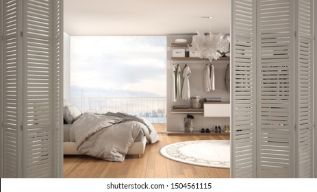 White folding door opening on modern luxury minimalist bedroom with walk-in closet and big panoramic window, interior design, architect designer concept, blur background, 3d illustration