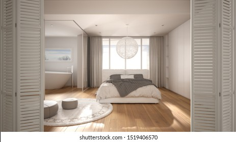 White folding door opening on modern luxury minimalist bedroom with double bed, bathroom and big panoramic window, interior design, architect designer concept, blur background, 3d illustration