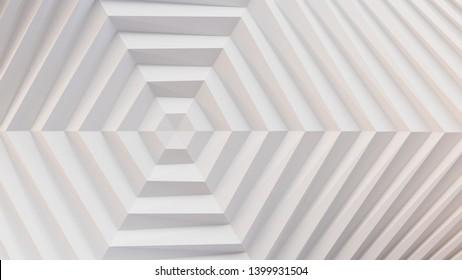 White folding paper. Hexagon in the center. 3D illustration