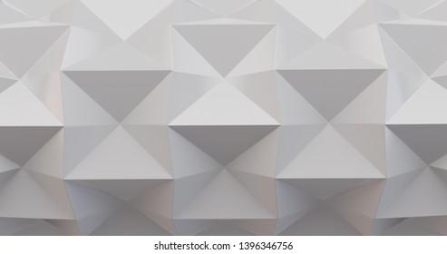 White folding paper. Origami background. 3D illustration