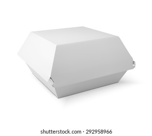 White food box, packaging for hamburger, lunch, fast food, burger, sandwich. Product pack.  isolater on white background