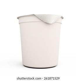 White food kontener for yogurts close-up on a white background. 3d illustration.