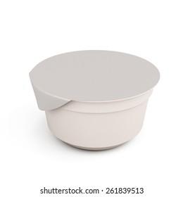 White food kontener for yogurts isolated on white background. 3d render image.