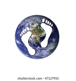 White footprints over Earth to represent environmet issues or carbon footprint. Earth photo from Nasa.
