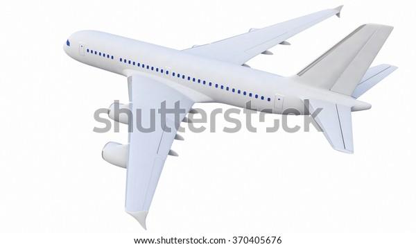 White Fourengine Plane 3d Model Stock Illustration 370405676