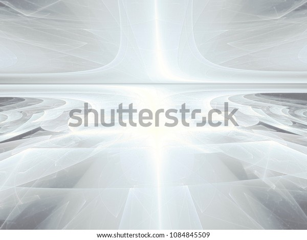 White fractal background - abstract computer-generated image. Digital art - textured surface with perspective. Pale backdrop for banners, covers, posters.
