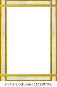White frame background with golden and marble decorated design borders.