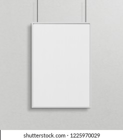 White frame hanging in front of a wall mockup 3d rendering
