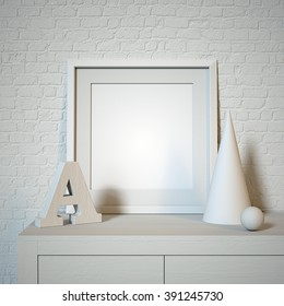 white frame mock up, modern art display, blank template, art letters, clean background