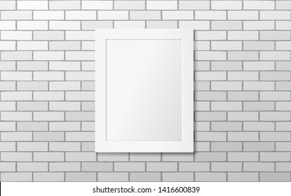 White frame on a white brick wall. Mock up. Gallery. Raster version