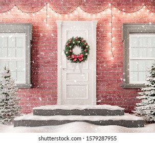 White front door with Christmas wreath and festive decorations on holidays at snowy night 3d render 3d illustration