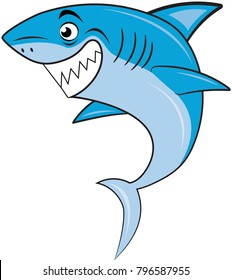 White Funny Cartoon Shark Isolated