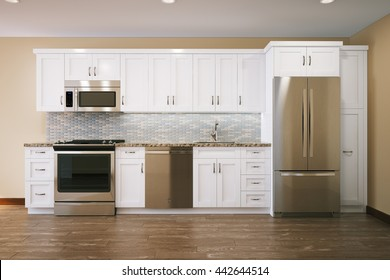 White furniture kitchen interior design with parquet flooring 3d render