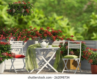 White furniture and red flowers on the balcony