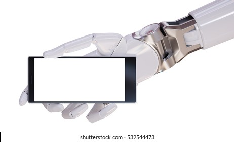 White Futuristic Android Hand Holding Modern Smartphone Closeup Concept 3d Illustration